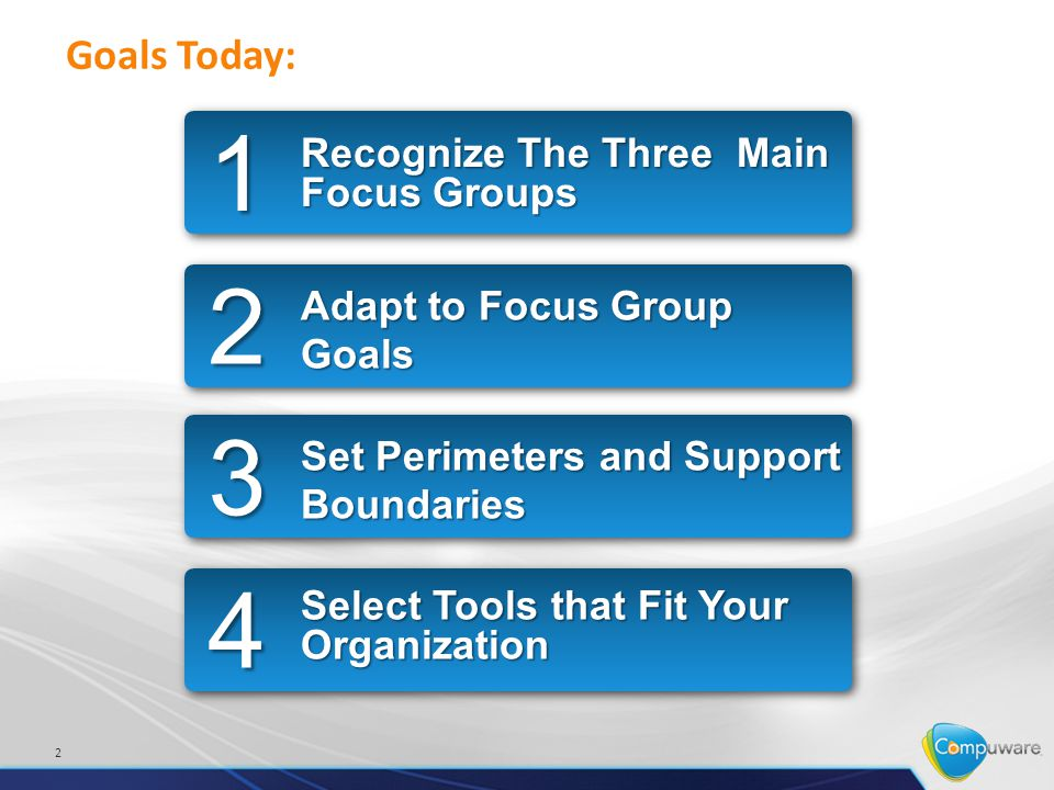 2 Goals Today: Recognize The Three Main Focus Groups 1 Adapt to Focus Group Goals 2 Set Perimeters and Support Boundaries 3 Select Tools that Fit Your Organization 4