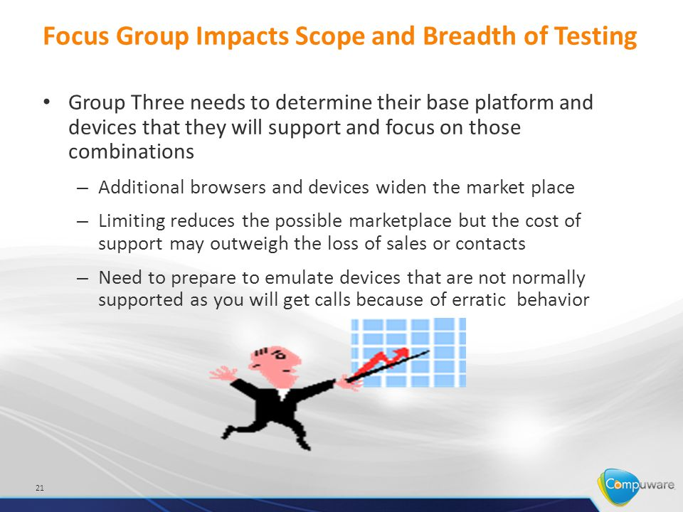 Focus Group Impacts Scope and Breadth of Testing Group Three needs to determine their base platform and devices that they will support and focus on those combinations – Additional browsers and devices widen the market place – Limiting reduces the possible marketplace but the cost of support may outweigh the loss of sales or contacts – Need to prepare to emulate devices that are not normally supported as you will get calls because of erratic behavior 21