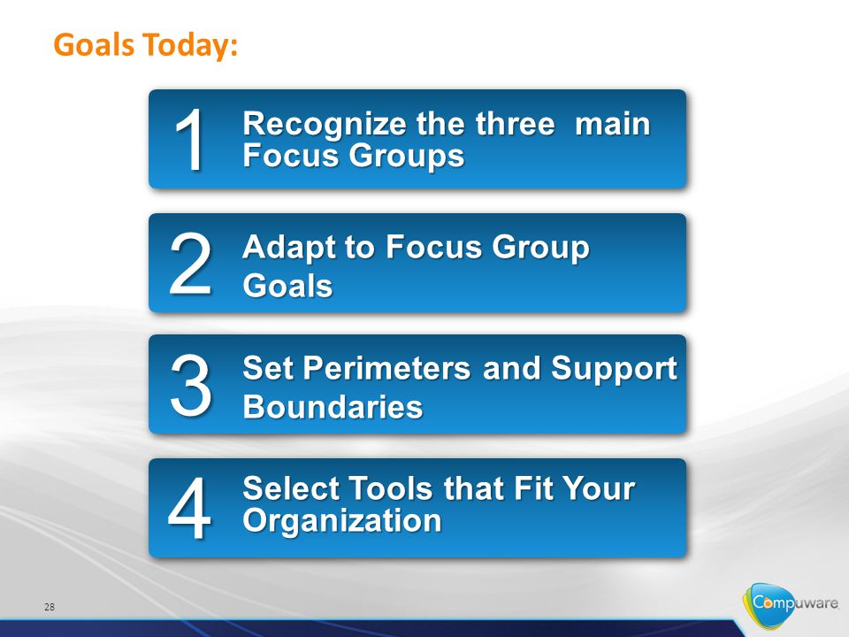 28 Goals Today: Recognize the three main Focus Groups 1 Adapt to Focus Group Goals 2 Set Perimeters and Support Boundaries 3 Select Tools that Fit Your Organization 4