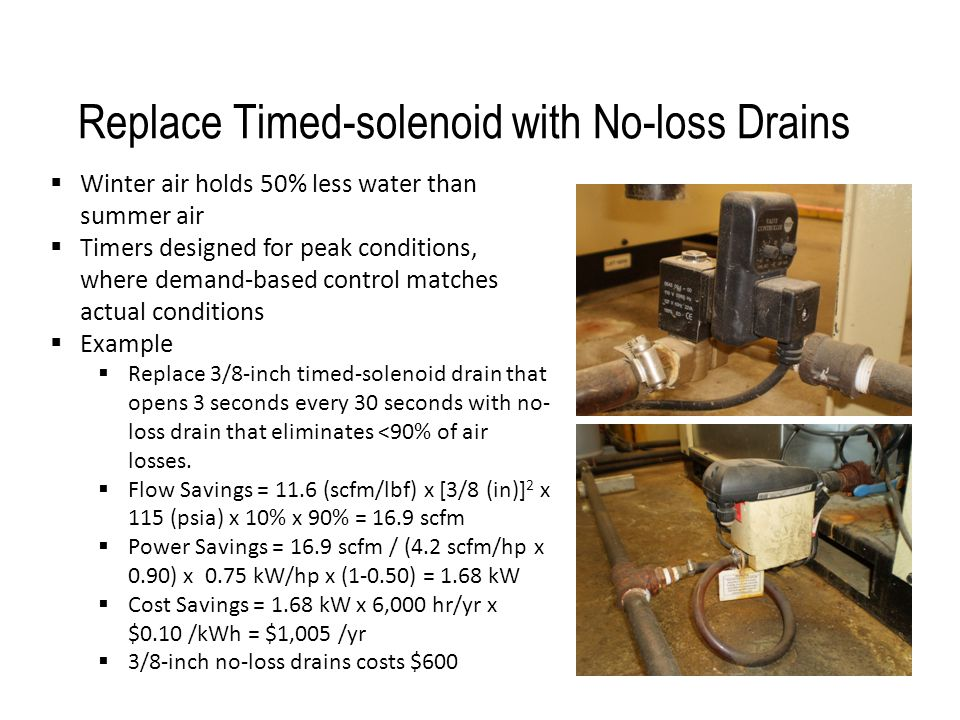 Replace Timed-solenoid with No-loss Drains  Winter air holds 50% less water than summer air  Timers designed for peak conditions, where demand-based
