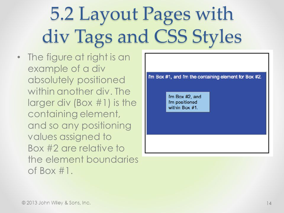 5.2 Layout Pages with div Tags and CSS Styles The figure at right is an example of a div absolutely positioned within another div.