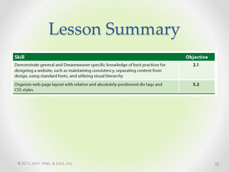 Lesson Summary © 2013 John Wiley & Sons, Inc. 32