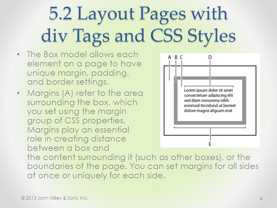 5.2 Layout Pages with div Tags and CSS Styles The Box model allows each element on a page to have unique margin, padding, and border settings.