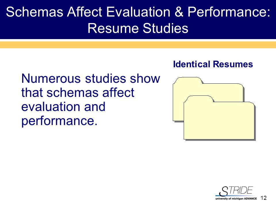 12 Schemas Affect Evaluation & Performance: Resume Studies Numerous studies show that schemas affect evaluation and performance.