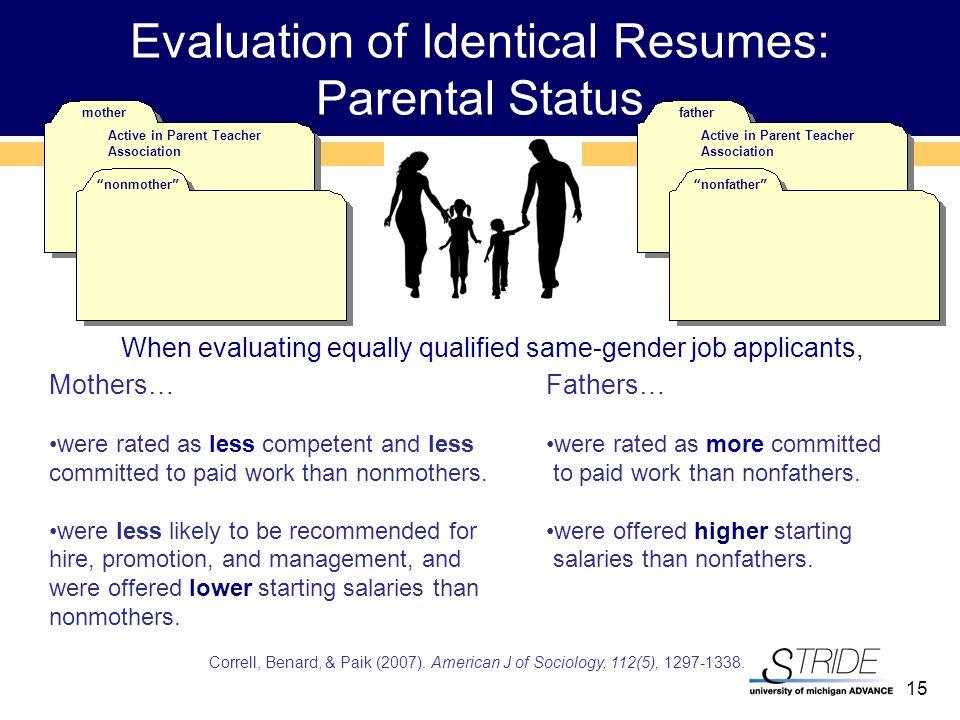 15 Evaluation of Identical Resumes: Parental Status Correll, Benard, & Paik (2007).