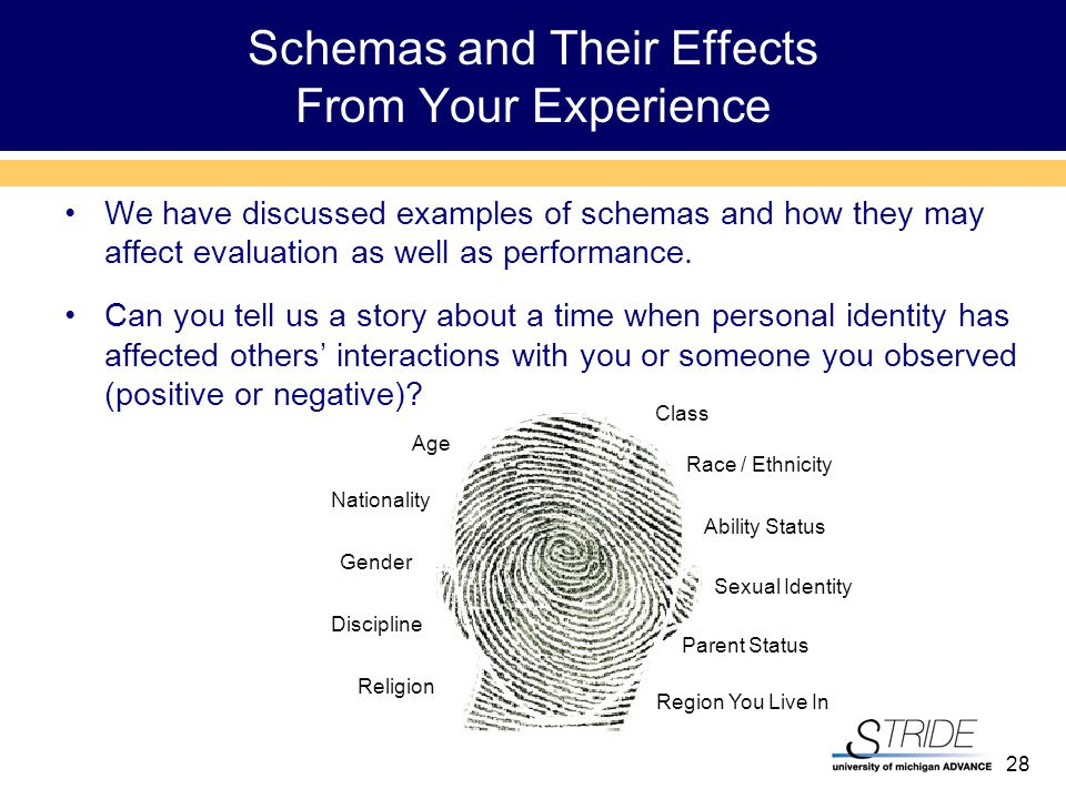 28 Schemas and Their Effects From Your Experience We have discussed examples of schemas and how they may affect evaluation as well as performance.