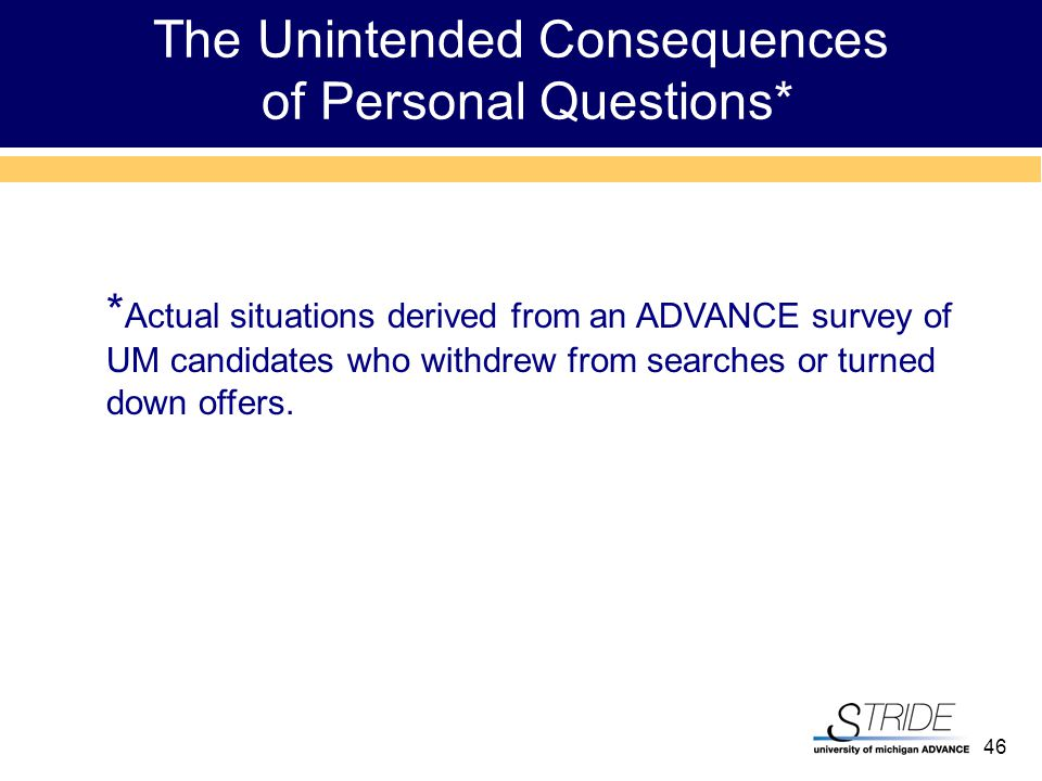 46 * Actual situations derived from an ADVANCE survey of UM candidates who withdrew from searches or turned down offers.