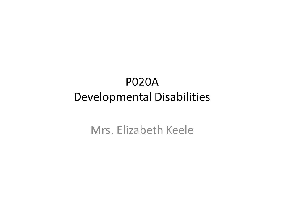 P020A Developmental Disabilities Mrs. Elizabeth Keele