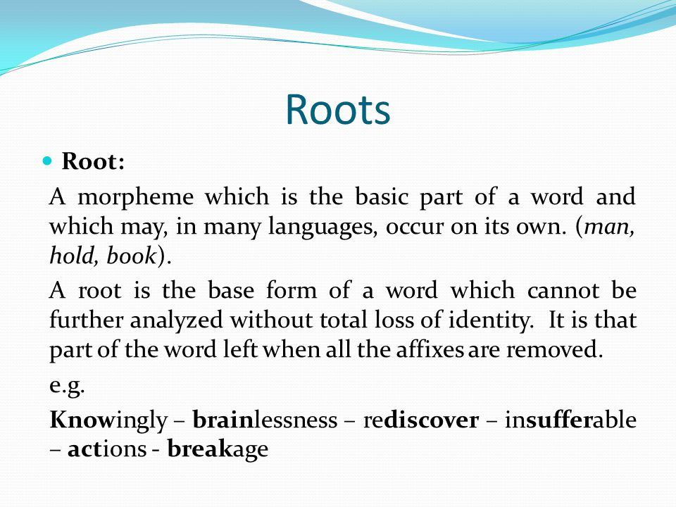Roots Root: A morpheme which is the basic part of a word and which may, in many languages, occur on its own. (man, hold, book). A root is the base for