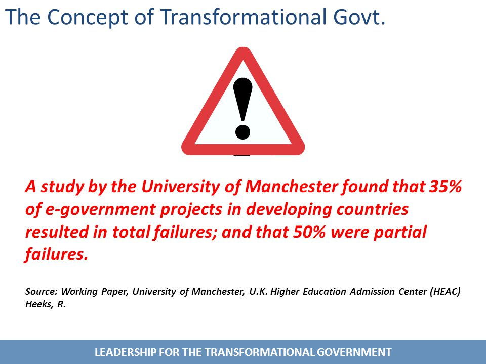 LEADERSHIP FOR THE TRANSFORMATIONAL GOVERNMENT A study by the University of Manchester found that 35% of e-government projects in developing countries resulted in total failures; and that 50% were partial failures.