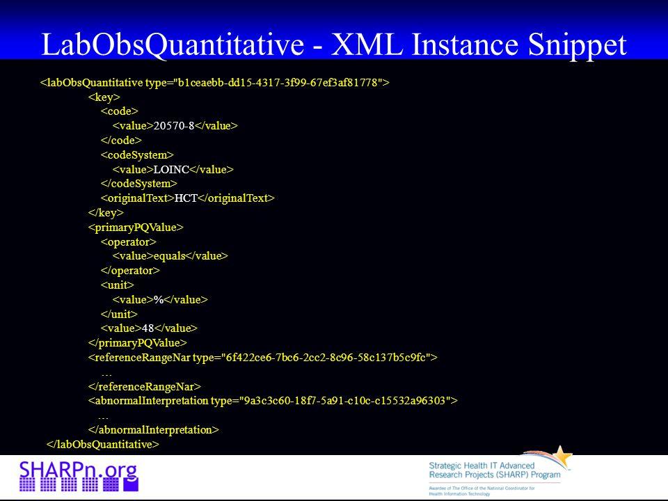 LabObsQuantitative - XML Instance Snippet 20570-8 LOINC HCT equals % 48 … …