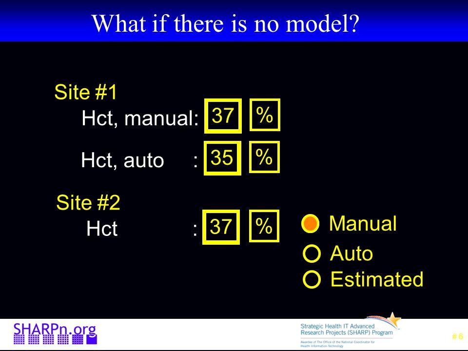 HL7 V2.X Messages Site 1: OBX|1|CE|4545-0^Hct, manual||37||%| OBX|1|CE|4544-3^Hct, auto||35||%| Site 2: OBX|1|CE|20570-8^Hct||37||%|….|manual| OBX|1|CE|20570-8^Hct||35||%|….|auto|