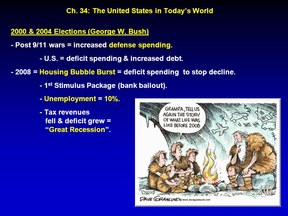Ch. 34: The United States in Today's World 2000 & 2004 Elections (George W. Bush) - Post 9/11 wars = increased defense spending. - U.S. = deficit spen