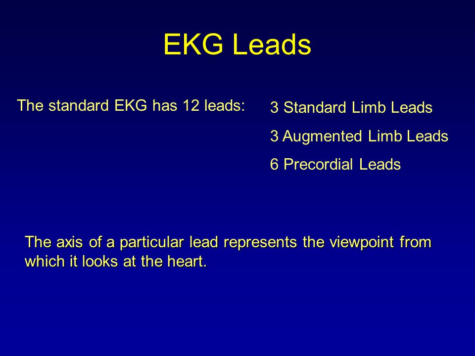 EKG Leads The standard EKG has 12 leads: 3 Standard Limb Leads 3 Augmented Limb Leads 6 Precordial Leads The axis of a particular lead represents the
