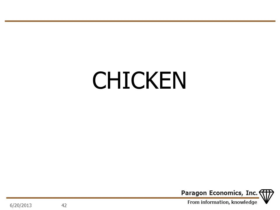 From information, knowledge Paragon Economics, Inc. CHICKEN 6/20/201342
