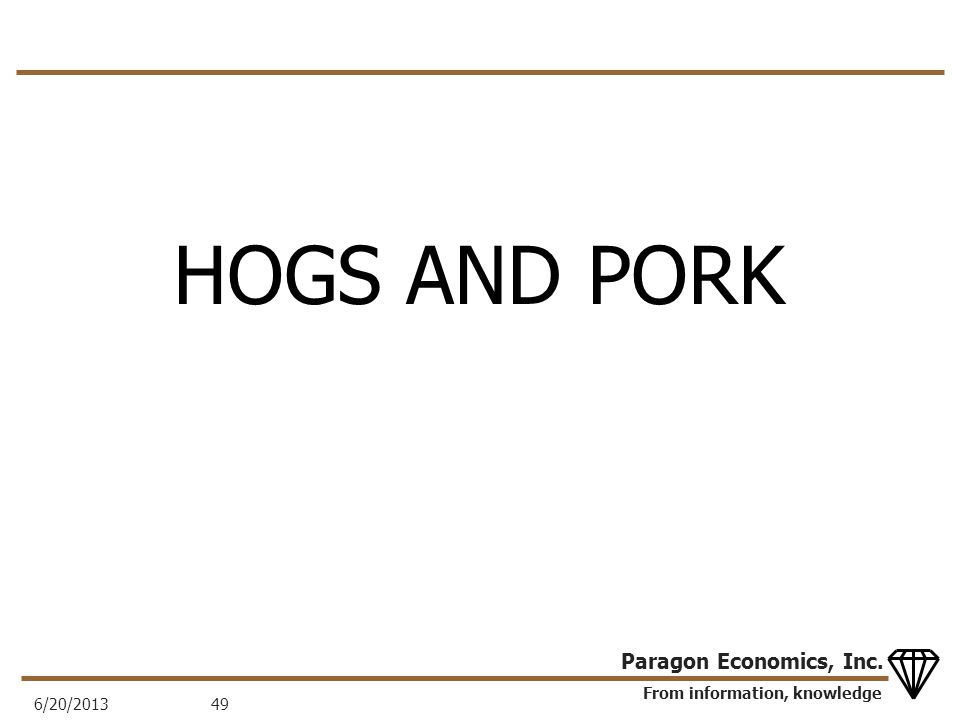 From information, knowledge Paragon Economics, Inc. HOGS AND PORK 6/20/201349