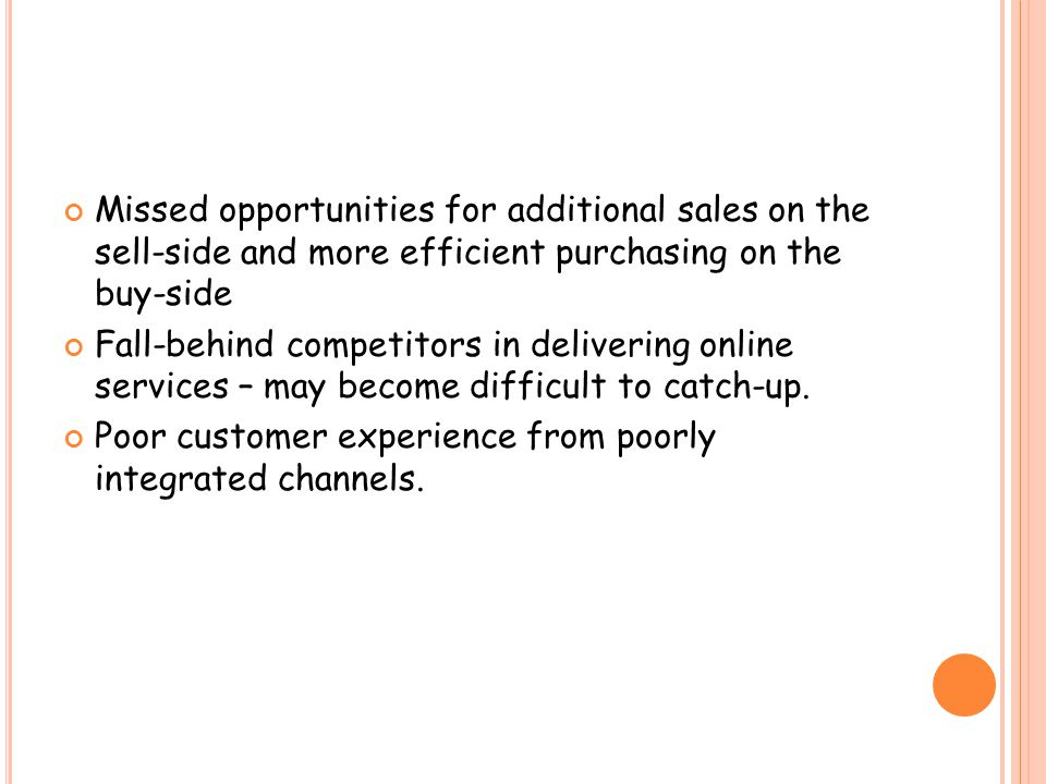 Missed opportunities for additional sales on the sell-side and more efficient purchasing on the buy-side Fall-behind competitors in delivering online