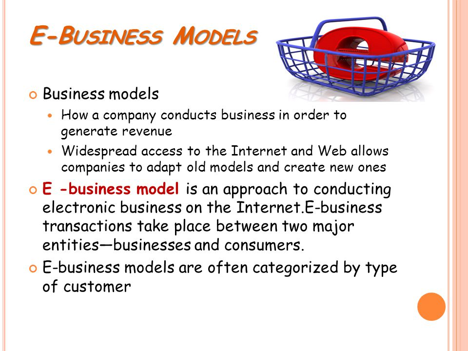 E-B USINESS M ODELS Business models How a company conducts business in order to generate revenue Widespread access to the Internet and Web allows comp