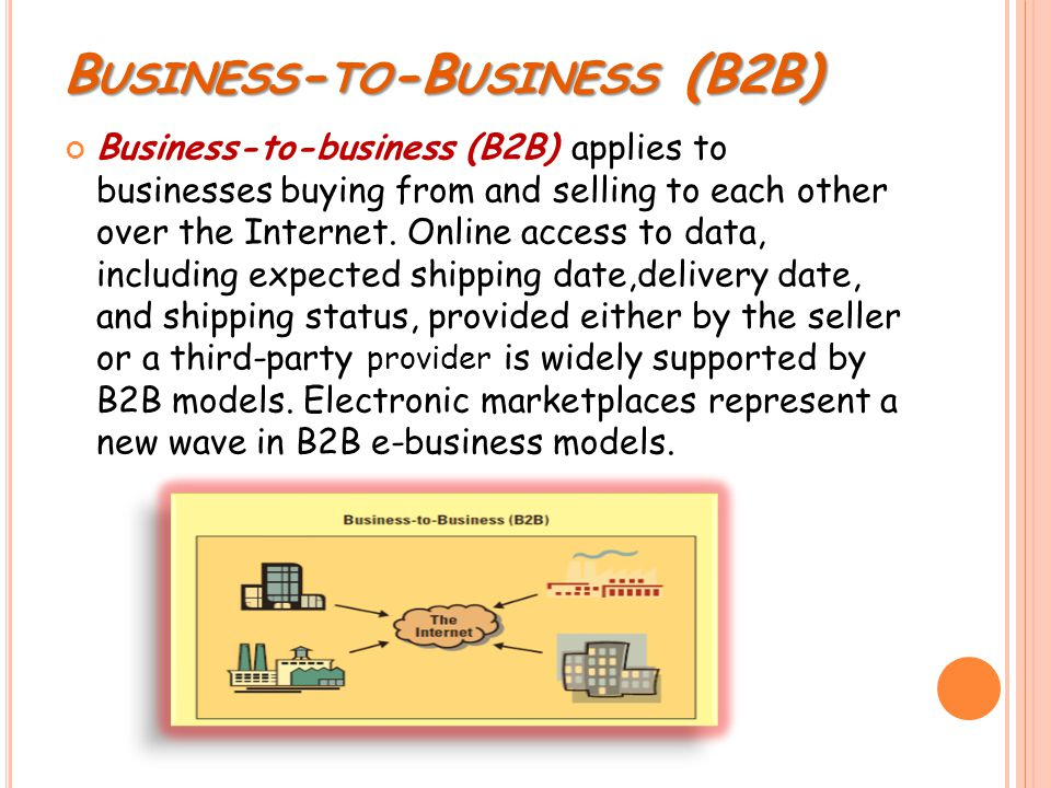 B USINESS - TO -B USINESS (B2B) Business-to-business (B2B) applies to businesses buying from and selling to each other over the Internet.