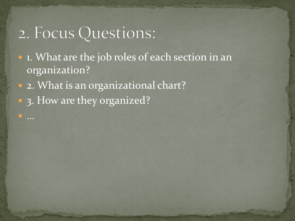 1. What are the job roles of each section in an organization.