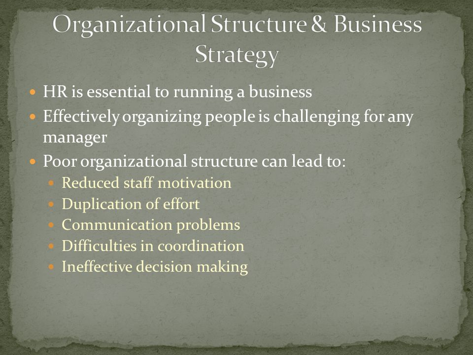 HR is essential to running a business Effectively organizing people is challenging for any manager Poor organizational structure can lead to: Reduced staff motivation Duplication of effort Communication problems Difficulties in coordination Ineffective decision making