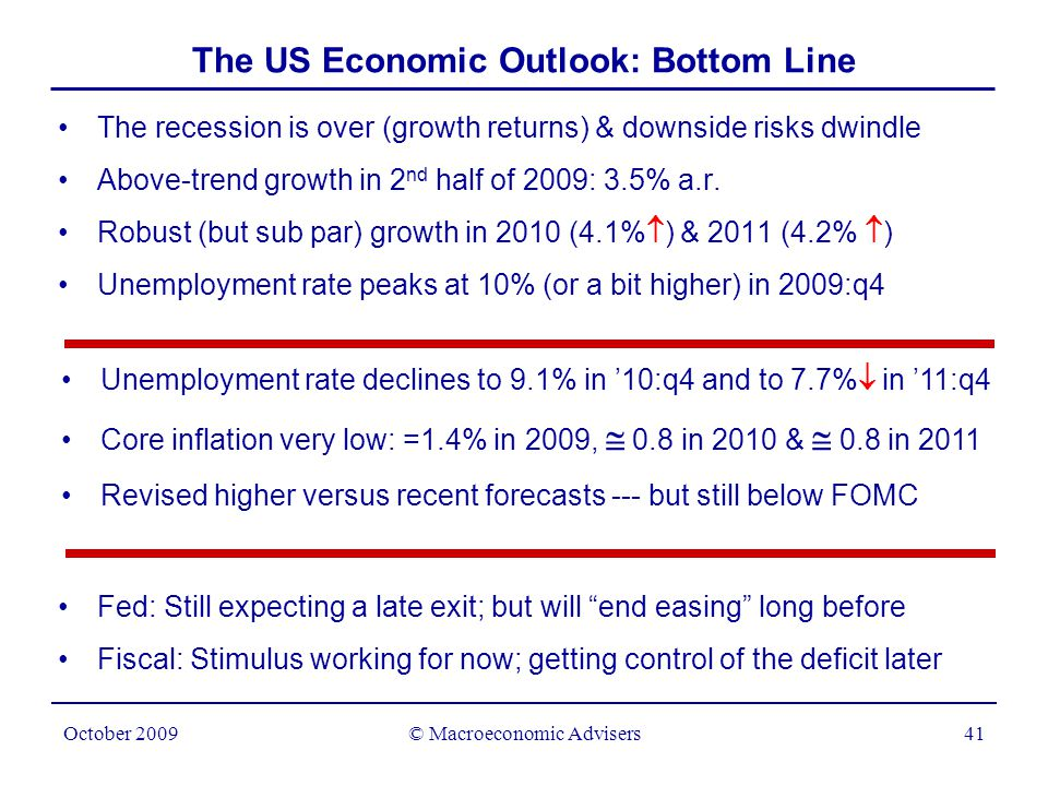 © Macroeconomic Advisers41 October 2009 The US Economic Outlook: Bottom Line The recession is over (growth returns) & downside risks dwindle Above-trend growth in 2 nd half of 2009: 3.5% a.r.