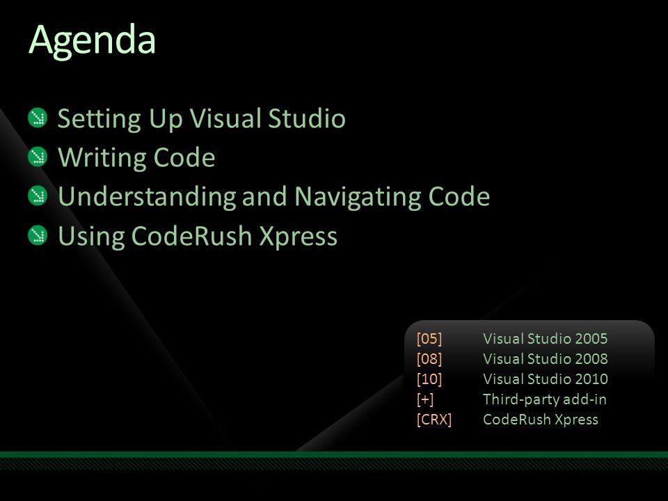 Agenda Setting Up Visual Studio Writing Code Understanding and Navigating Code Using CodeRush Xpress [05]Visual Studio 2005 [08]Visual Studio 2008 [10