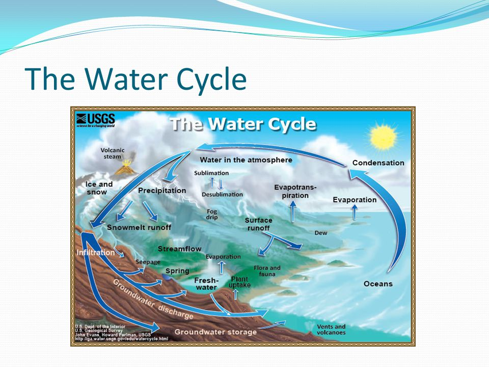 Water Cycle Processes Evaporation – Liquid water changing into water vapor.