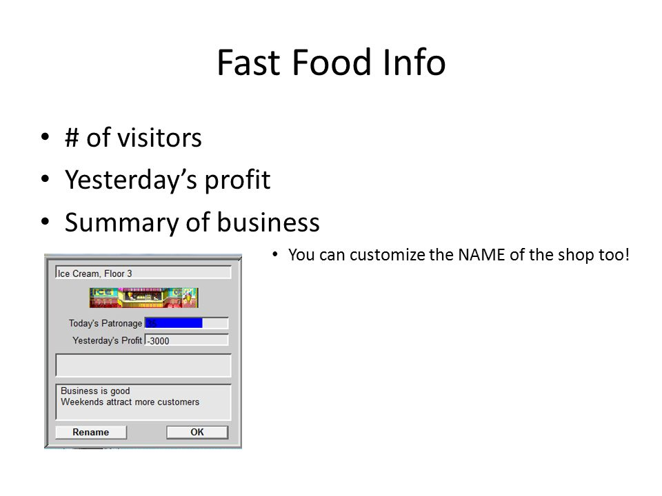 Fast Food Info # of visitors Yesterday's profit Summary of business You can customize the NAME of the shop too!
