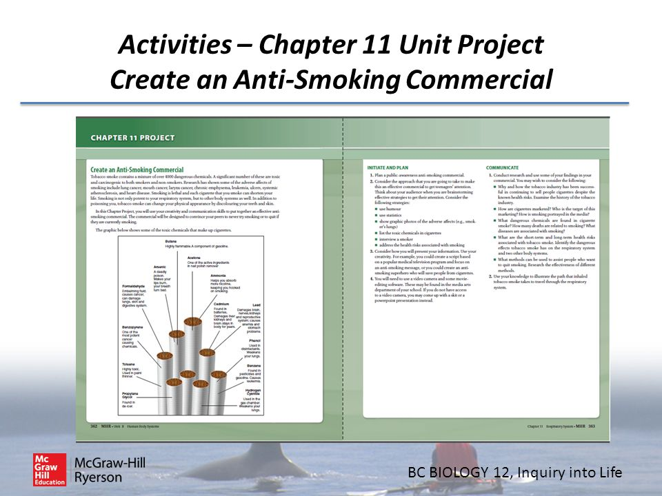 BC BIOLOGY 12, Inquiry into Life Activities – Chapter 11 Unit Project Create an Anti-Smoking Commercial