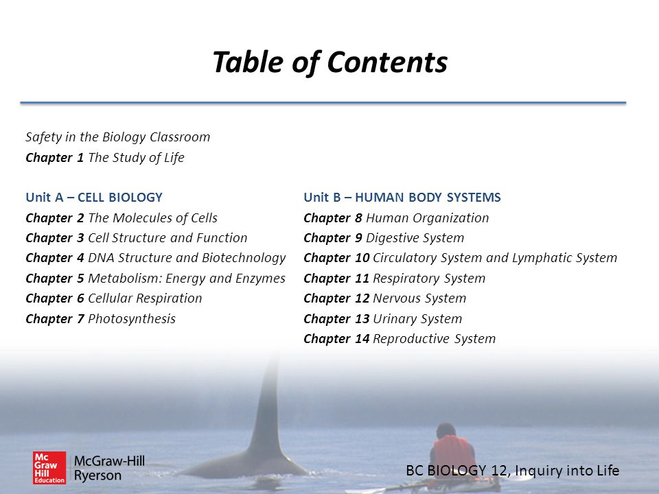 BC BIOLOGY 12, Inquiry into Life Table of Contents Safety in the Biology Classroom Chapter 1 The Study of Life Unit A – CELL BIOLOGY Chapter 2 The Mol