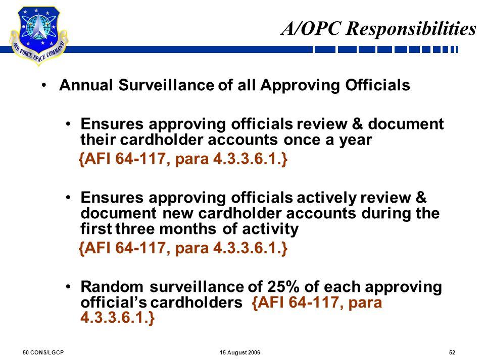 50 CONS/LGCP5215 August 2006 A/OPC Responsibilities Annual Surveillance of all Approving Officials Ensures approving officials review & document their