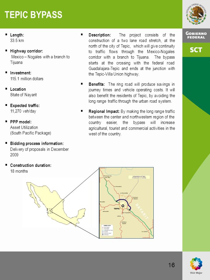 16 TEPIC BYPASS  Description: The project consists of the construction of a two lane road stretch, at the north of the city of Tepic, which will give