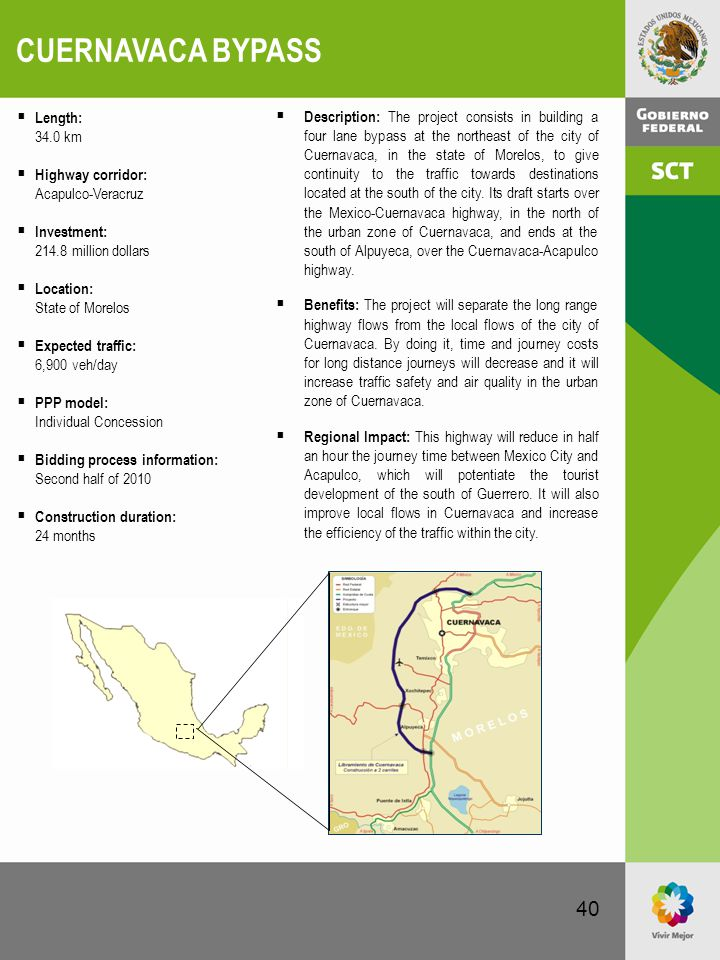 40 CUERNAVACA BYPASS  Description: The project consists in building a four lane bypass at the northeast of the city of Cuernavaca, in the state of Mo