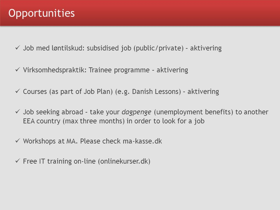 Opportunities Job med løntilskud: subsidised job (public/private) – aktivering Virksomhedspraktik: Trainee programme – aktivering Courses (as part of Job Plan) (e.g.