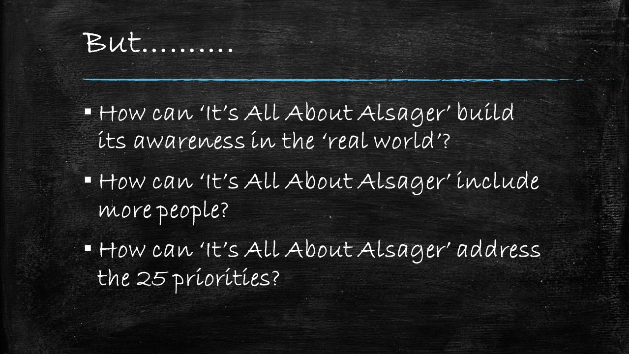 But………. ▪ How can 'It's All About Alsager' build its awareness in the 'real world'.
