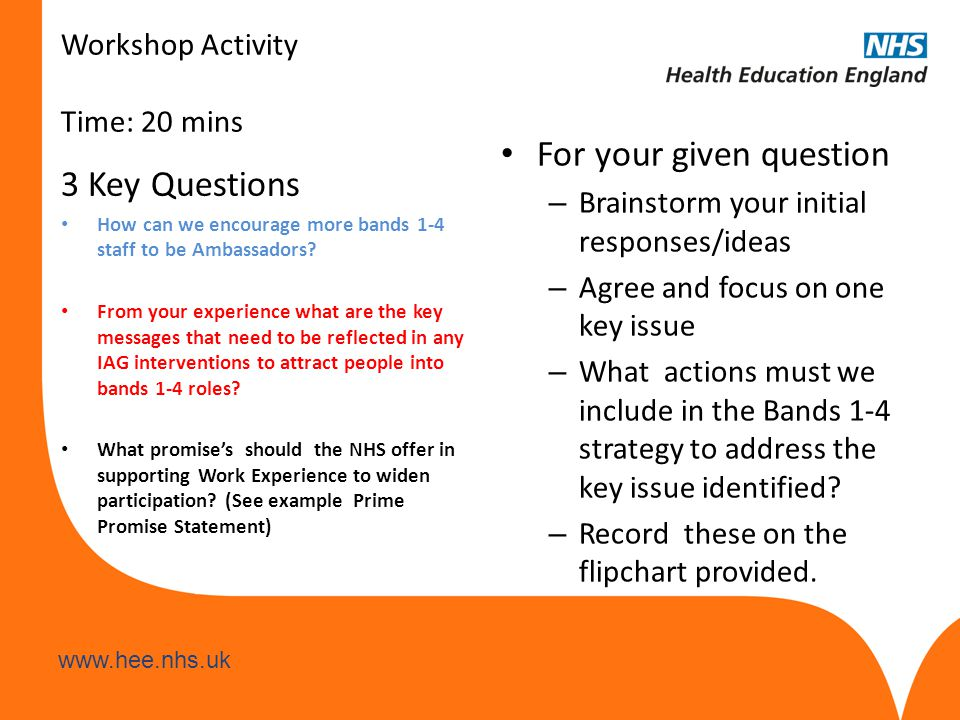 www.hee.nhs.uk Workshop Activity Time: 20 mins 3 Key Questions How can we encourage more bands 1-4 staff to be Ambassadors? From your experience what