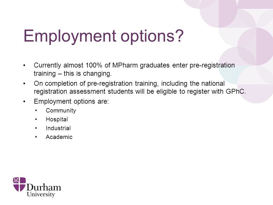 Employment options.