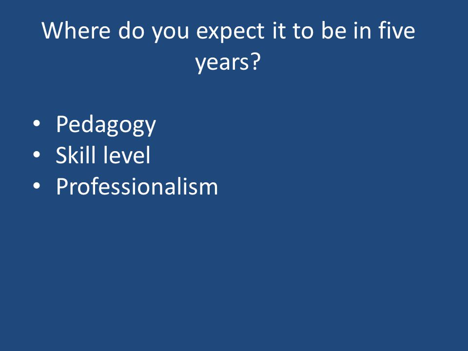 Where do you expect it to be in five years Pedagogy Skill level Professionalism