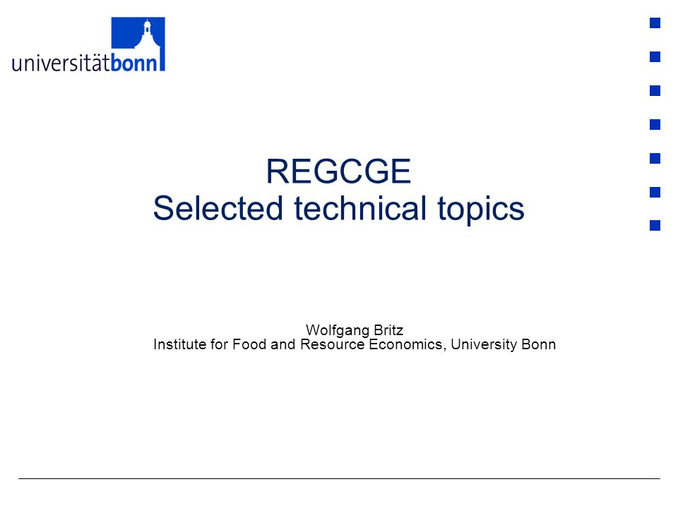 REGCGE Selected technical topics Wolfgang Britz Institute for Food and Resource Economics, University Bonn