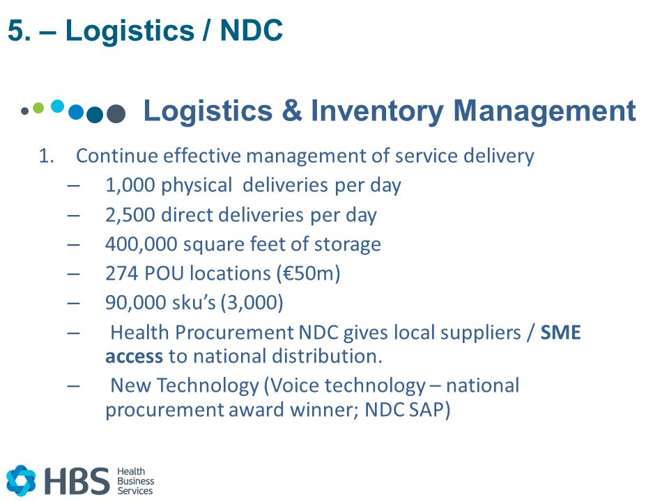 Logistics & Inventory Management 1.Continue effective management of service delivery – 1,000 physical deliveries per day – 2,500 direct deliveries per day – 400,000 square feet of storage – 274 POU locations (€50m) – 90,000 sku's (3,000) – Health Procurement NDC gives local suppliers / SME access to national distribution.