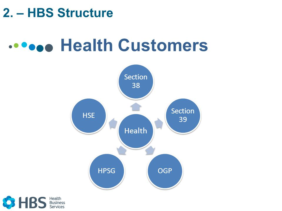 Health Sectio n 38 Sectio n 39 OGPHPSGHSE Health Customers 2. – HBS Structure