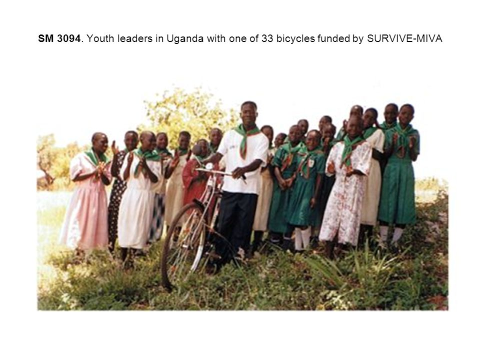 SM 3094. Youth leaders in Uganda with one of 33 bicycles funded by SURVIVE-MIVA
