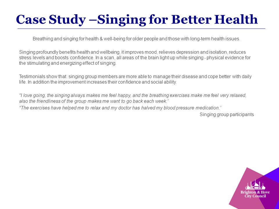 Breathing and singing for health & well-being for older people and those with long-term health issues.