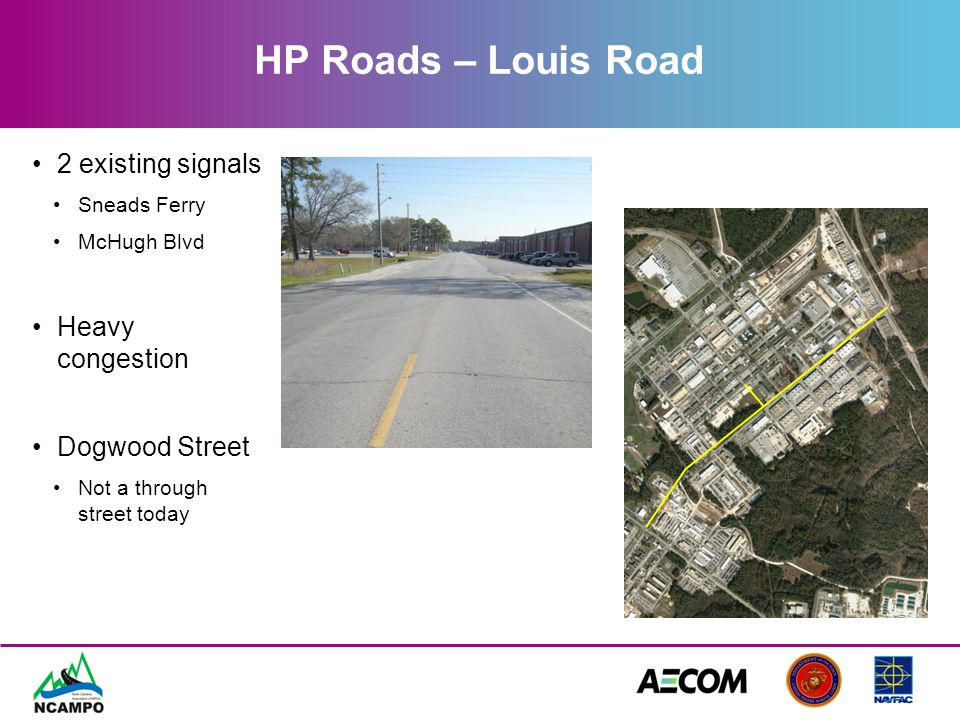 HP Roads – Louis Road Recommendations Add two more signals –Birch Street –Dogwood Street Widen to three lanes Complete Dogwood Street Provides new link to commissary FYA at 3 of 4 signalized intersections