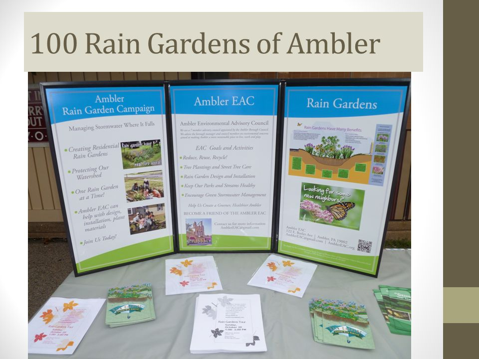 100 Rain Gardens of Ambler Advertised the incentives:  Newspapers  Movie theater preview slides  Events  Farmers' markets  Municipal Home Town News  Tour of Rain Gardens  7-minute GreenTreks video: www.stormwaterpa.org/raingarden www.stormwaterpa.org/raingarden