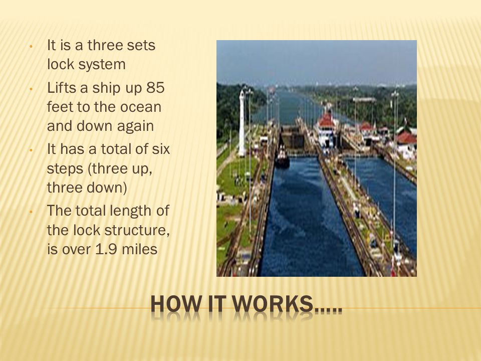 It is a three sets lock system Lifts a ship up 85 feet to the ocean and down again It has a total of six steps (three up, three down) The total length