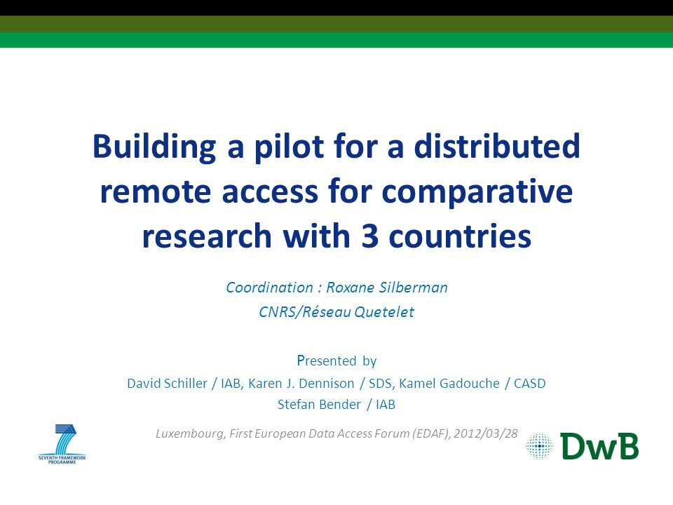 Building a pilot for a distributed remote access for comparative research with 3 countries Coordination : Roxane Silberman CNRS/Réseau Quetelet P resented by David Schiller / IAB, Karen J.