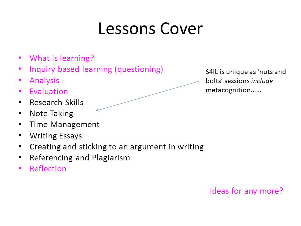 Lessons Cover What is learning.