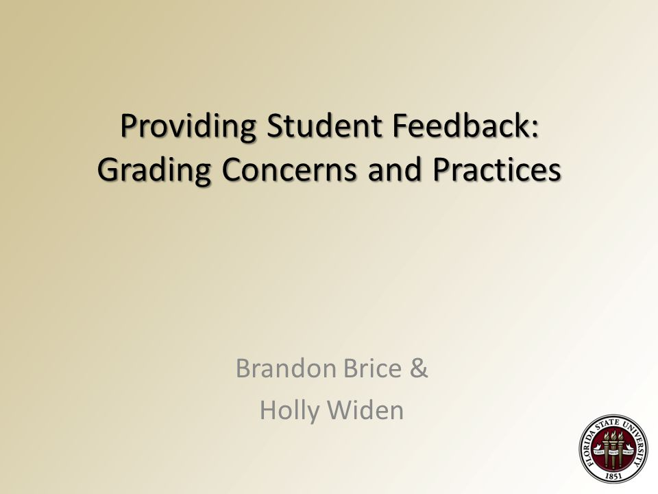 Providing Student Feedback: Grading Concerns and Practices Brandon Brice & Holly Widen